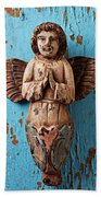 Angel On Blue Wooden Wall Beach Towel by Garry Gay