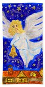Angel With Christmas Bell Beach Towel
