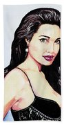 Angelina Jolie Portrait Beach Towel
