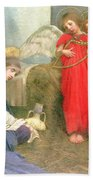 Angels Entertaining The Holy Child Beach Towel by Marianne Stokes