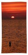 Angler In Summer Sunset Beach Towel
