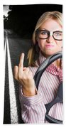 Angry Business Woman Expressing Road Rage Beach Towel