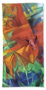 Animals In Landscape Red And Yellow Bulls Resting Beach Towel