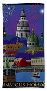 Annapolis Holiday With Title Beach Towel