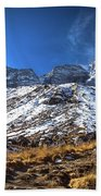 Annapurna Trail With Snow Mountain Background In Nepal Beach Towel