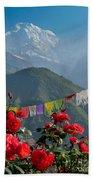 Annapurnas And Prayer Flags Beach Towel