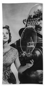 Anne Francis Movie Photo Forbidden Planet With Robby The Robot Beach Towel