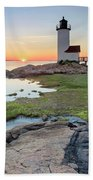 Annisquam Lighthouse Sunset Vertical Beach Towel