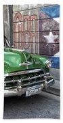 Antique Car And Mural Beach Towel