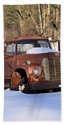 Antique Grungy Truck In Snow Beach Towel