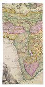 Antique Map Of Africa Beach Towel by Pieter Schenk