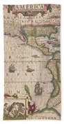 Antique Map Of America Beach Towel