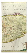 Antique Map Of Ceylon Beach Towel by Nicolas Visscher