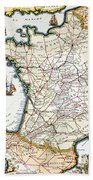 Antique Map Of France Beach Towel