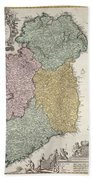 Antique Map Of Ireland Showing The Provinces Beach Towel