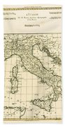 Antique Map Of Italy Beach Towel