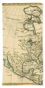 Antique Map Of North America Beach Towel