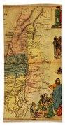 Antique Map Of Palestine 1856 On Worn Parchment Beach Towel