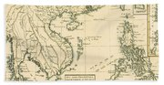 Antique Map Of South East Asia Beach Sheet