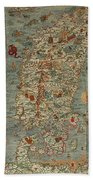 Antique Maps - Old Cartographic Maps - Antique Map Of Scandinavia In Latin, 1539 Beach Towel