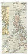 Antique Maps - Old Cartographic Maps - Antique Map Of Philippine Islands And Manila Bay, 1898 Beach Towel