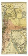 Antique Maps - Old Cartographic Maps - Antique Map Of Syria, 1884 Beach Towel