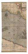 Antique Maps - Old Cartographic Maps - Antique Map Of The Pacific Ocean - Mar Del Zur, 1589 Beach Towel