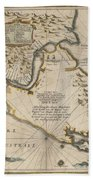 Antique Maps - Old Cartographic Maps - Antique Map Of The Strait Of Magellan, South America, 1635 Beach Towel