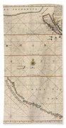 Antique Maps - Old Cartographic Maps - Antique Map Of The Strait Of Magellan, South America, 1650 Beach Towel
