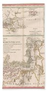 Antique Maps - Old Cartographic Maps - Antique Map Of The Strait Of Magellan, South America, 1787 Beach Towel