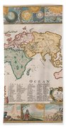 Antique Maps - Old Cartographic Maps - Antique Map Of The World Beach Towel