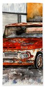 Antique Old Truck Painting Beach Sheet