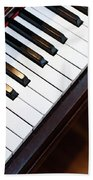 Antique Piano Keys From Above With Hardwood Floor Beach Towel