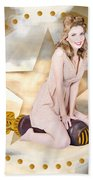 Antique Pin-up Girl On Missile. Bombshell Blond Beach Towel