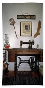 antique Singer sewing machine with treadle Beach Towel