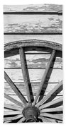 Antique Wagon Wheel In Black And White Beach Towel