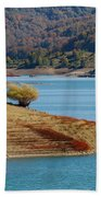 Aoos Lake Shore In Epirus, Greece Beach Towel