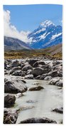 Aoraki Mount Cook Hooker Valley Southern Alps Nz Beach Towel