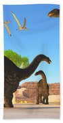Apatosaurus Forest Beach Towel