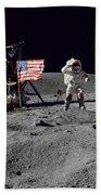 Apollo 16 Astronaut Leaps Beach Towel by Stocktrek Images
