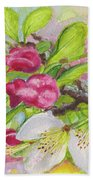 Apple Blossom Buds On A Greeting Card Beach Towel
