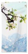 Apple Blossoms And Mountains Beach Sheet