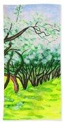 Apple Garden In Blossom Beach Towel