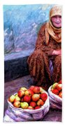 Apple Seller Beach Towel