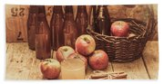 Apples Cider By Wicker Basket On Wooden Table Beach Sheet