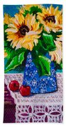 Apples  Sunflowers Beach Towel