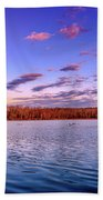 April Evening At The Lake Beach Towel