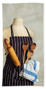 Apron With Utensils Beach Towel