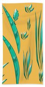 Aqua Design On Gold Beach Towel