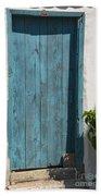Aqua Door Textures Beach Towel